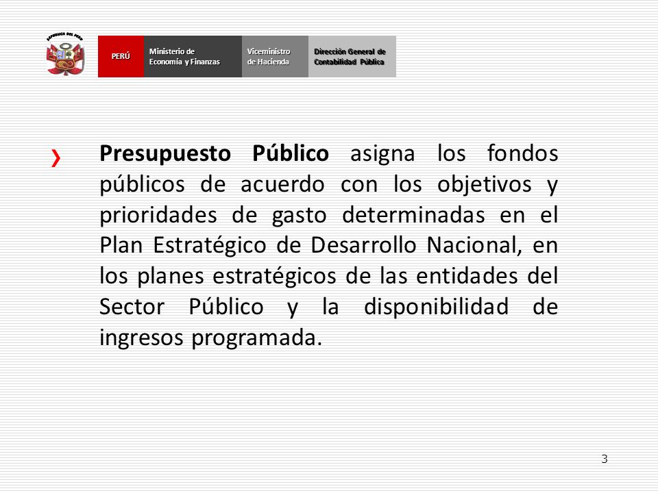 3 Dirección General de Contabilidad Pública Ministerio de Economía y Finanzas PERÚ Dirección General de Contabilidad Pública Ministerio de Economía y