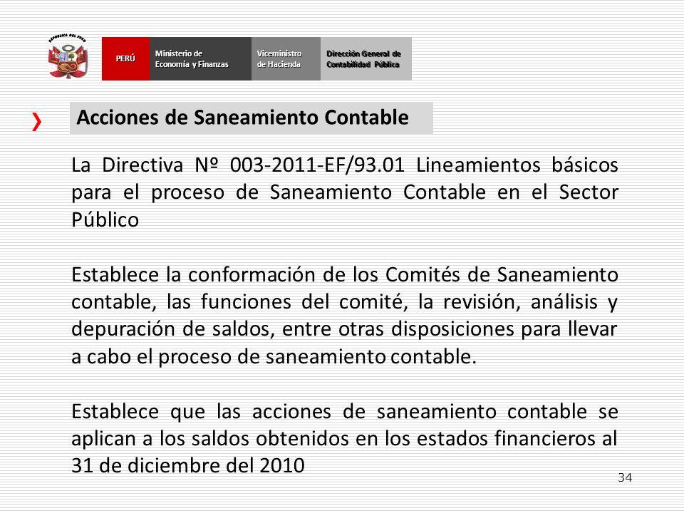 34 Dirección General de Contabilidad Pública Ministerio de Economía y Finanzas PERÚViceministro de Hacienda Acciones de Saneamiento Contable La Direct