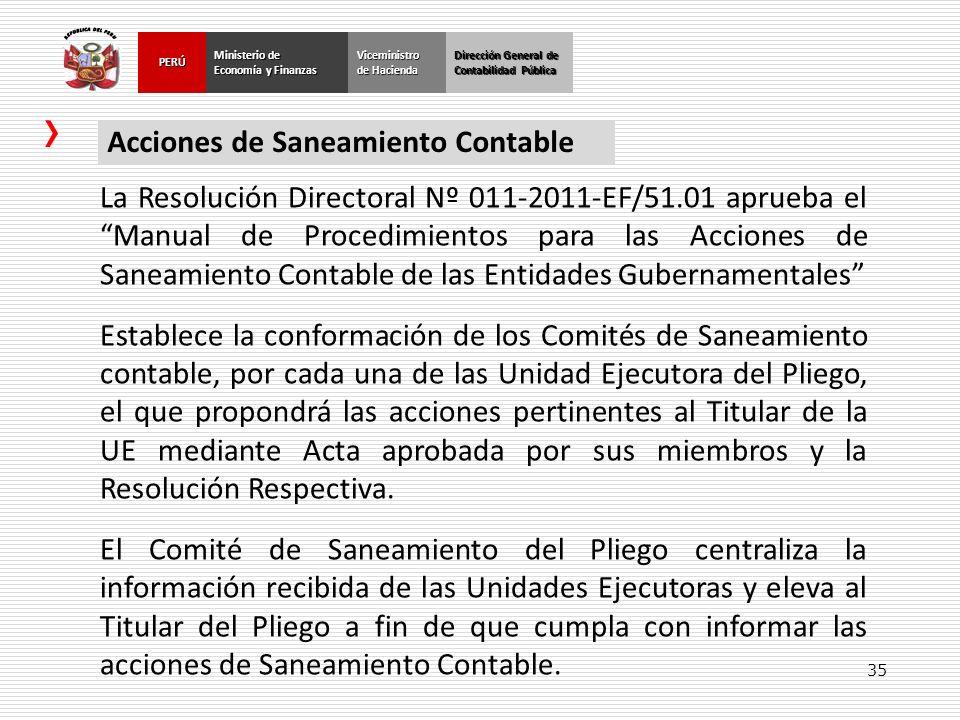 35 Dirección General de Contabilidad Pública Ministerio de Economía y Finanzas PERÚViceministro de Hacienda Acciones de Saneamiento Contable La Resolu