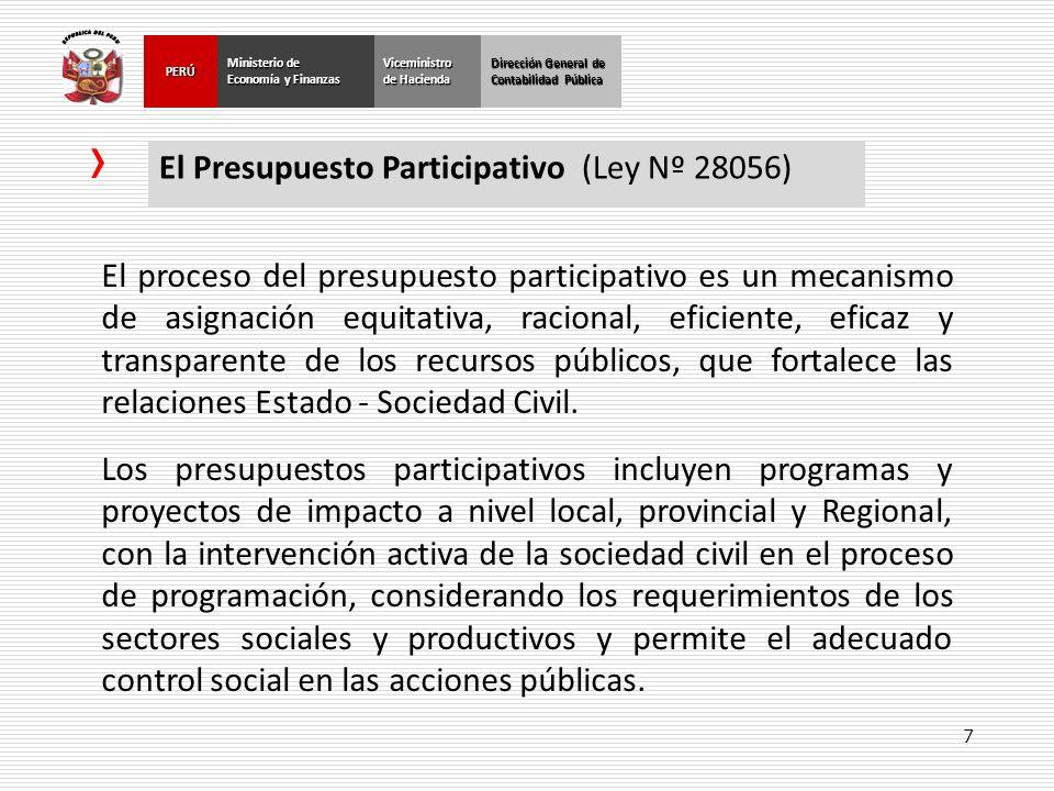 7 Dirección General de Contabilidad Pública Ministerio de Economía y Finanzas PERÚViceministro de Hacienda El Presupuesto Participativo (Ley Nº 28056)
