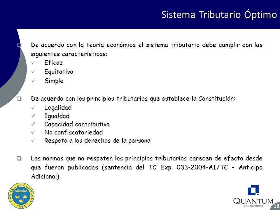 Sistema Tributario Óptimo 18 De acuerdo con la teoría económica el sistema tributario debe cumplir con las siguientes características: De acuerdo con