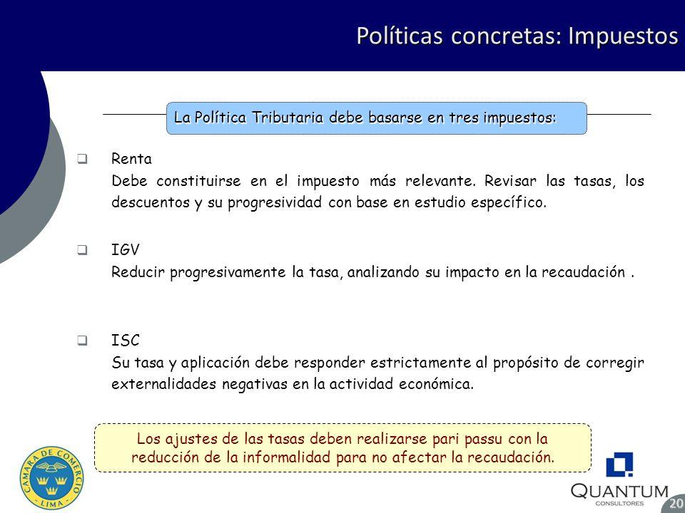Políticas concretas: Impuestos 20 Renta Debe constituirse en el impuesto más relevante. Revisar las tasas, los descuentos y su progresividad con base