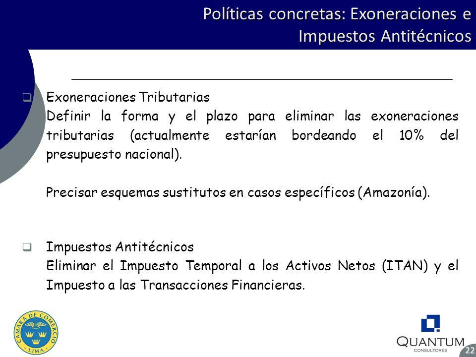 Políticas concretas: Exoneraciones e Impuestos Antitécnicos 22 Exoneraciones Tributarias Definir la forma y el plazo para eliminar las exoneraciones t
