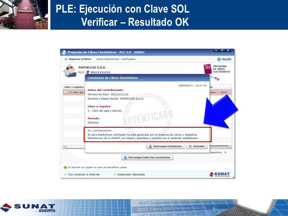 PLE: Ejecución con Clave SOL Verificar – Resultado OK