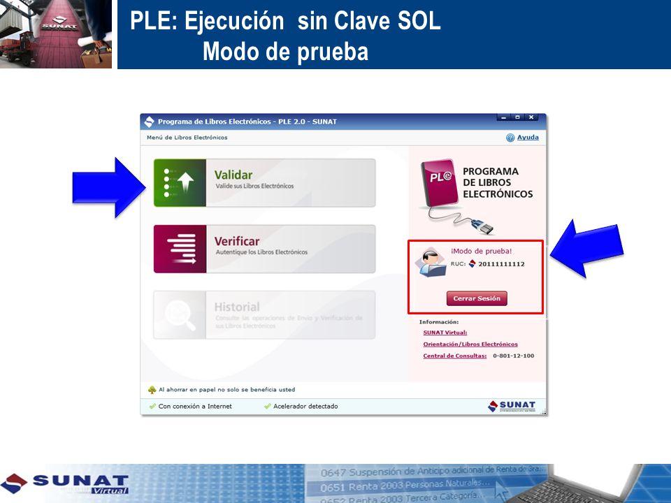 PLE: Ejecución con Clave SOL Enviar – Caso Libro Inventarios y Balances