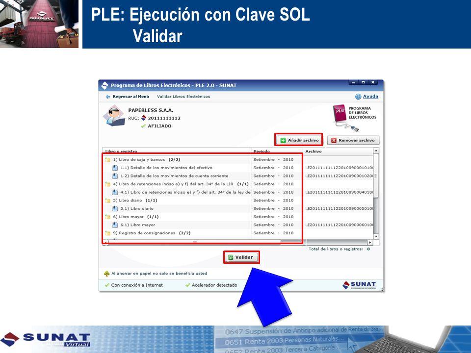 PLE: Ejecución con Clave SOL Validar: Registro de Compras desde Mayo 2011