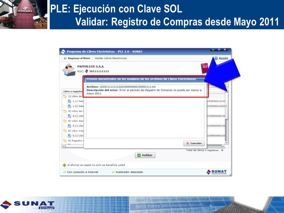 PLE: Ejecución con Clave SOL Verificar