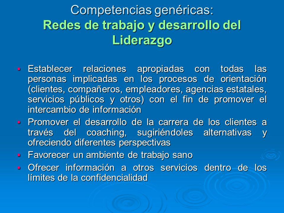 Competencias genéricas: Redes de trabajo y desarrollo del Liderazgo Establecer relaciones apropiadas con todas las personas implicadas en los procesos