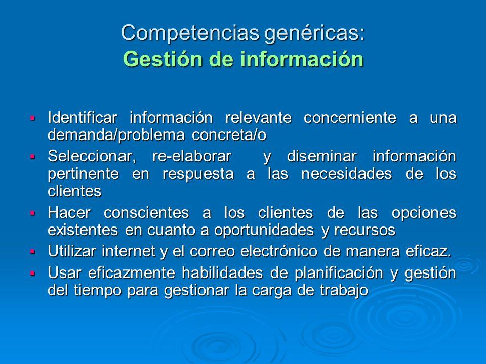 Competencias genéricas: Gestión de información Identificar información relevante concerniente a una demanda/problema concreta/o Identificar informació