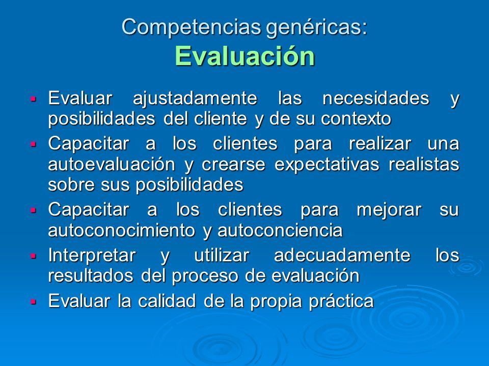 Competencias genéricas: Evaluación Evaluar ajustadamente las necesidades y posibilidades del cliente y de su contexto Evaluar ajustadamente las necesi