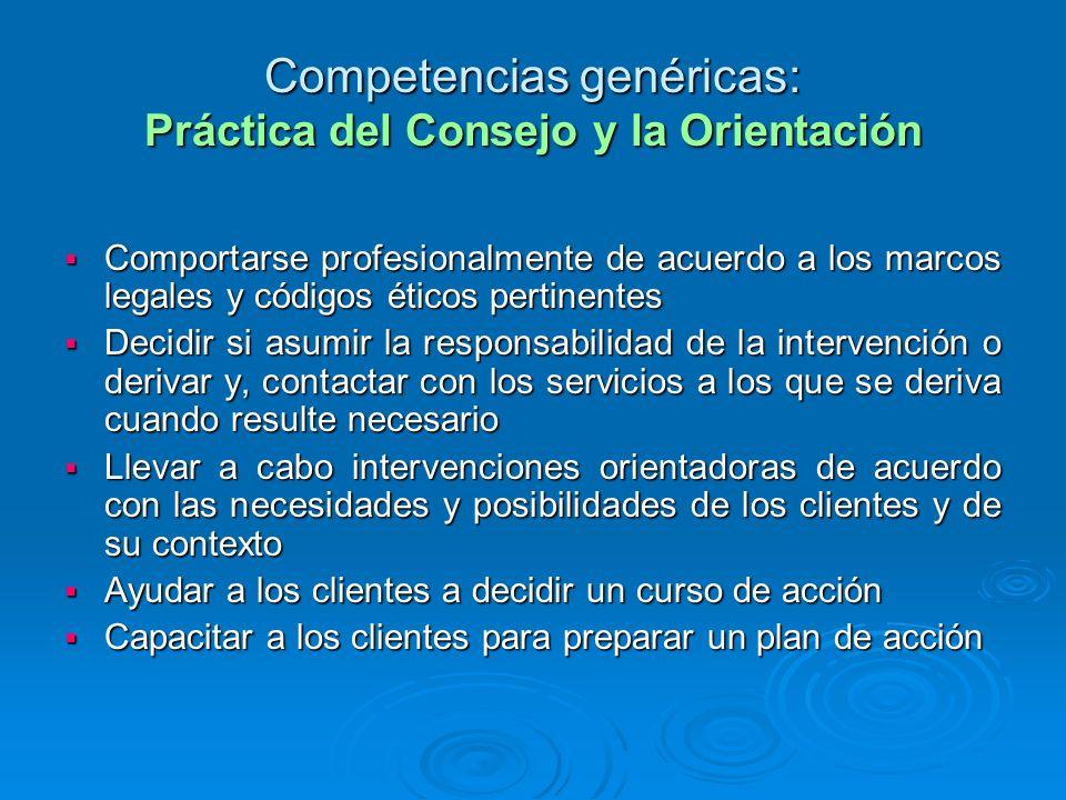 Competencias genéricas: Práctica del Consejo y la Orientación Comportarse profesionalmente de acuerdo a los marcos legales y códigos éticos pertinente
