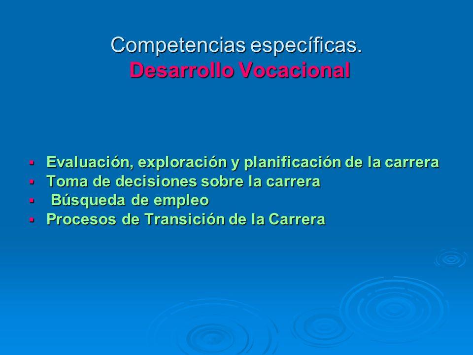 Competencias específicas. Desarrollo Vocacional Evaluación, exploración y planificación de la carrera Evaluación, exploración y planificación de la ca
