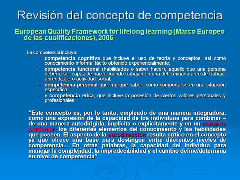 Revisión del concepto de competencia OCDE (Informe DeSeCo, 2005) DeSeCo se centra en un enfoque funcional, que otorga a la capacidad de los individuos para enfrentarse a demandas complejas un lugar primordial en el concepto de competencia.