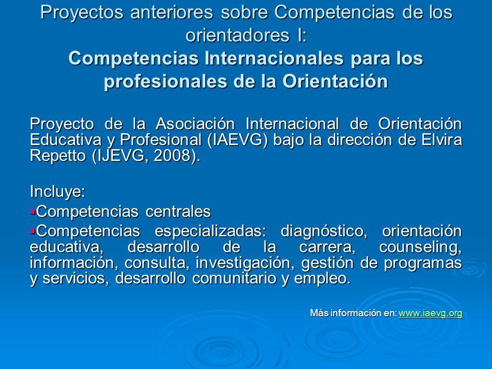 Proyectos anteriores sobre Competencias de los orientadores I: Competencias Internacionales para los profesionales de la Orientación Proyecto de la As