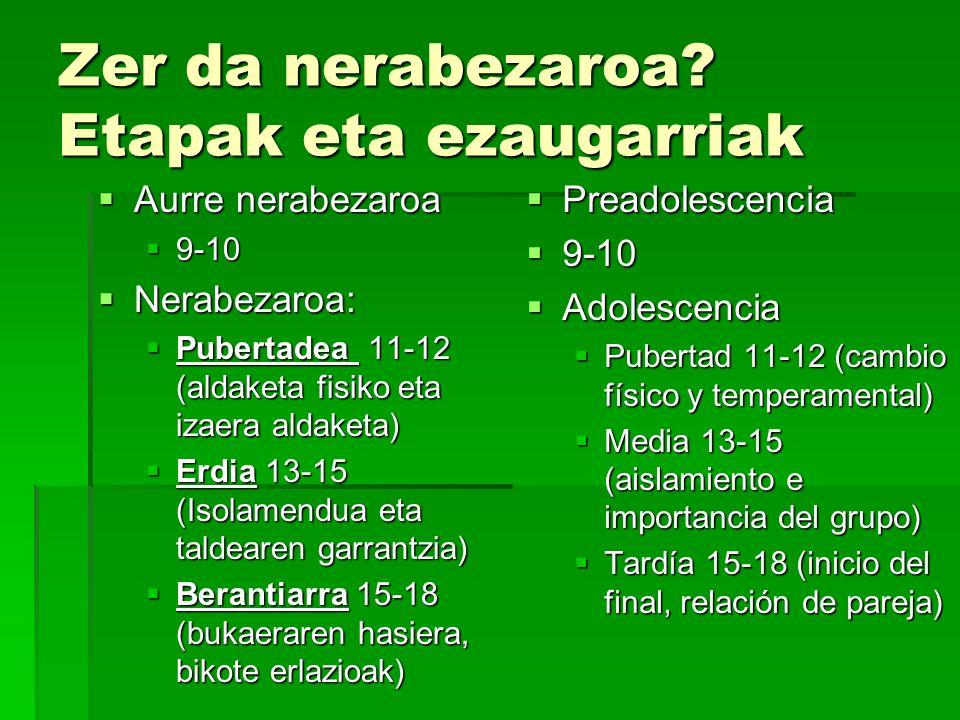 Pubertaro nerabezaroa 11-12 Aldaketa fisiko garrantzitsuak ematen hasten dira.