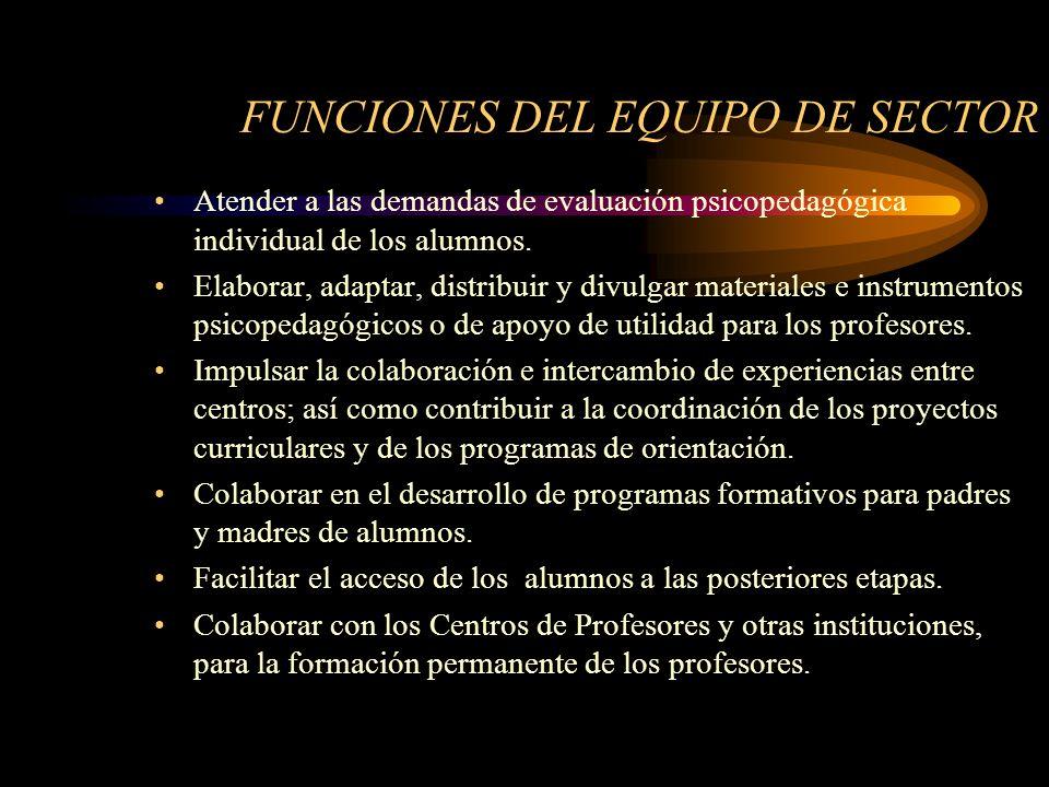 FUNCIONES DEL EQUIPO DE SECTOR Atender a las demandas de evaluación psicopedagógica individual de los alumnos.