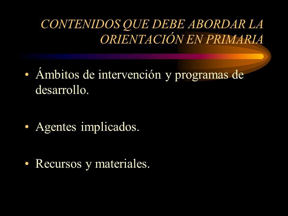 CONTENIDOS QUE DEBE ABORDAR LA ORIENTACIÓN EN PRIMARIA Ámbitos de intervención y programas de desarrollo.
