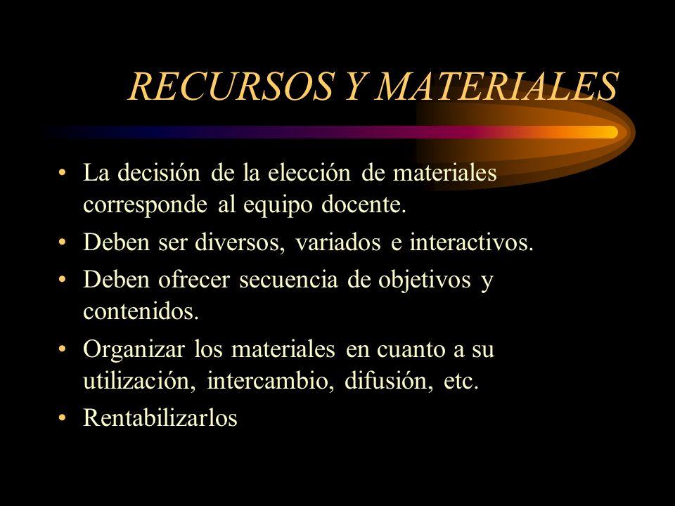 RECURSOS Y MATERIALES La decisión de la elección de materiales corresponde al equipo docente.