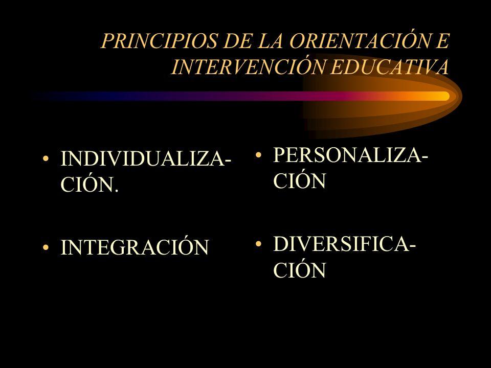 PRINCIPIOS DE LA ORIENTACIÓN E INTERVENCIÓN EDUCATIVA INDIVIDUALIZA- CIÓN.
