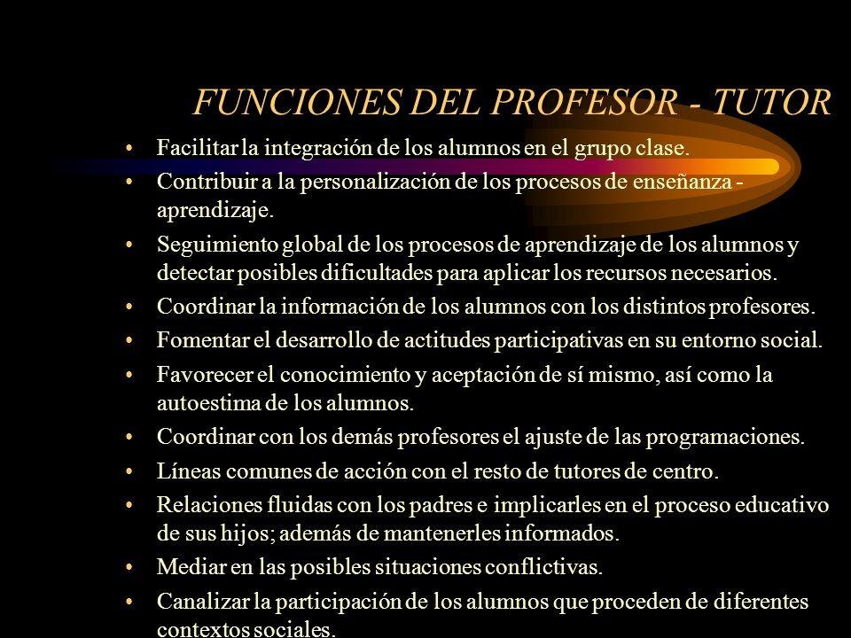 FUNCIONES DEL PROFESOR - TUTOR Facilitar la integración de los alumnos en el grupo clase.