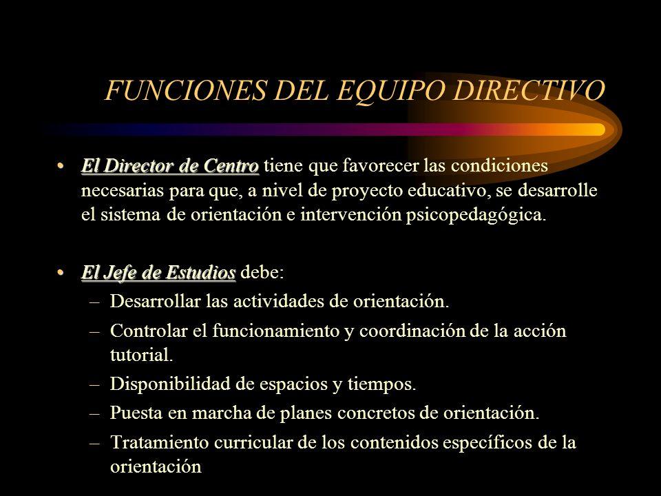 FUNCIONES DEL EQUIPO DIRECTIVO El Director de CentroEl Director de Centro tiene que favorecer las condiciones necesarias para que, a nivel de proyecto educativo, se desarrolle el sistema de orientación e intervención psicopedagógica.