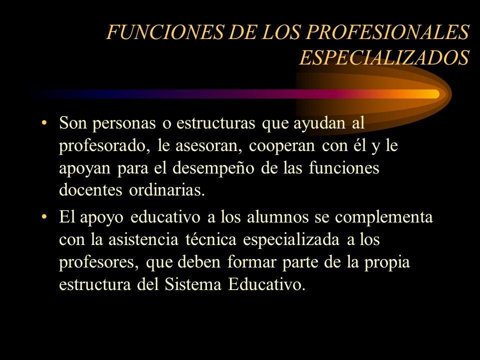 FUNCIONES DE LOS PROFESIONALES ESPECIALIZADOS Son personas o estructuras que ayudan al profesorado, le asesoran, cooperan con él y le apoyan para el desempeño de las funciones docentes ordinarias.