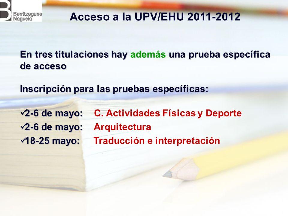 En tres titulaciones hay además una prueba específica de acceso Inscripción para las pruebas específicas: 2-6 de mayo: 2-6 de mayo: C.