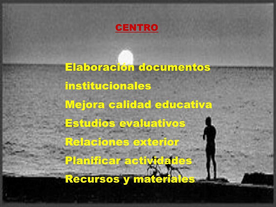 CENTRO Elaboración documentos institucionales Mejora calidad educativa Estudios evaluativos Relaciones exterior Planificar actividades Recursos y mate