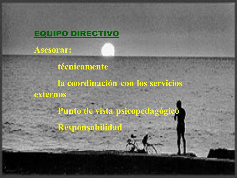 EQUIPO DIRECTIVO Asesorar: técnicamente la coordinación con los servicios externos Punto de vista psicopedagógico Responsabilidad