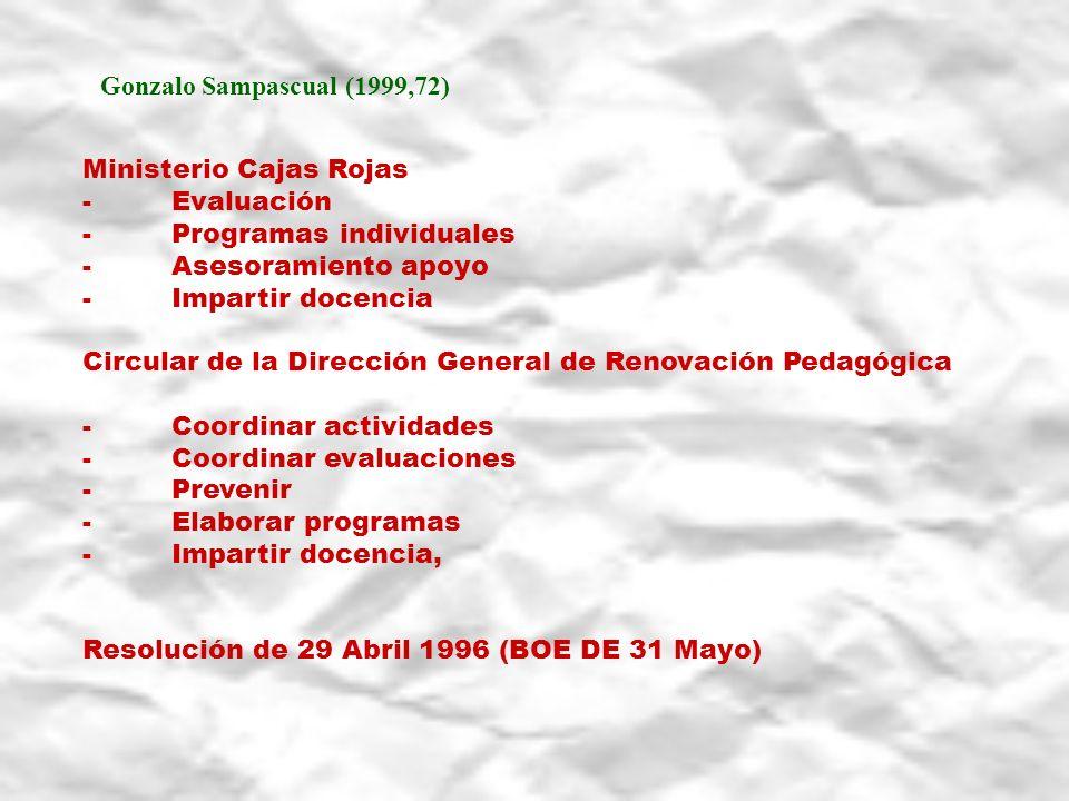 Gonzalo Sampascual (1999,72) Ministerio Cajas Rojas - Evaluación - Programas individuales - Asesoramiento apoyo - Impartir docencia Circular de la Dir