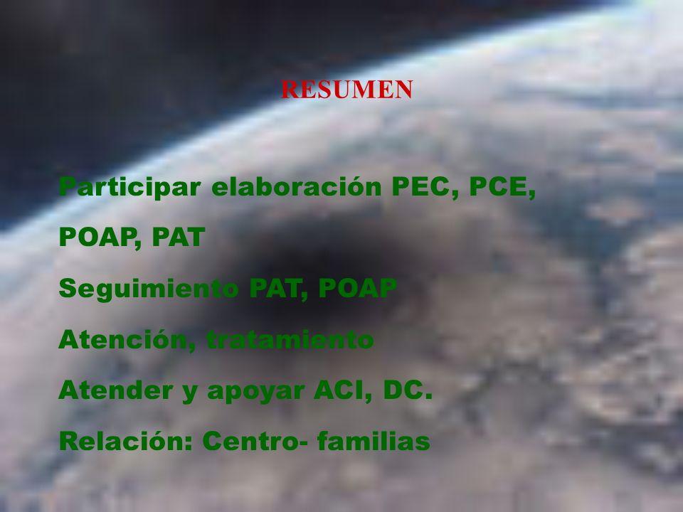 RESUMEN Participar elaboración PEC, PCE, POAP, PAT Seguimiento PAT, POAP Atención, tratamiento Atender y apoyar ACI, DC. Relación: Centro- familias