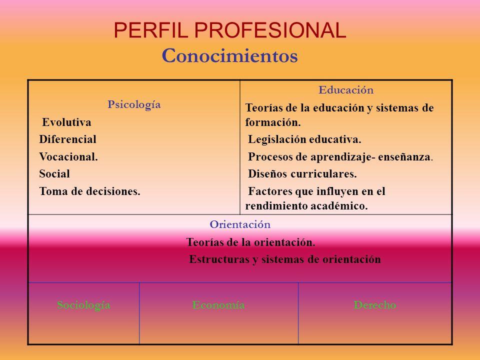 PERFIL PROFESIONAL Conocimientos Psicología Evolutiva Diferencial Vocacional. Social Toma de decisiones. Educación Teorías de la educación y sistemas