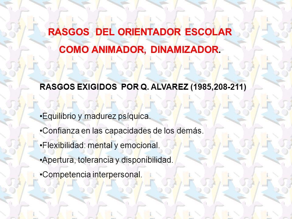 RASGOS DEL ORIENTADOR ESCOLAR COMO ANIMADOR, DINAMIZADOR. RASGOS EXIGIDOS POR Q. ALVAREZ (1985,208-211) Equilibrio y madurez psíquica. Confianza en la