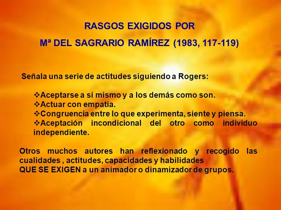 Señala una serie de actitudes siguiendo a Rogers: Aceptarse a sí mismo y a los demás como son. Actuar con empatía. Congruencia entre lo que experiment