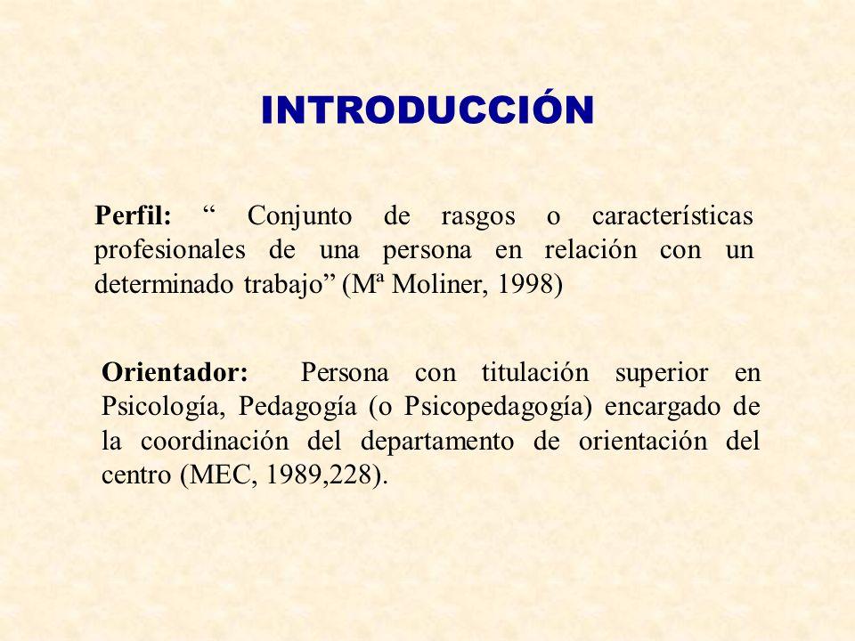 INTRODUCCIÓN Perfil: Conjunto de rasgos o características profesionales de una persona en relación con un determinado trabajo (Mª Moliner, 1998) Orien