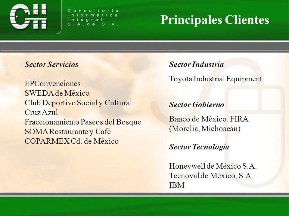 Sector Tecnología Honeywell de México S.A. Tecnoval de México, S.A. IBM Principales Clientes Sector Servicios EPConvenciones SWEDA de México Club Depo