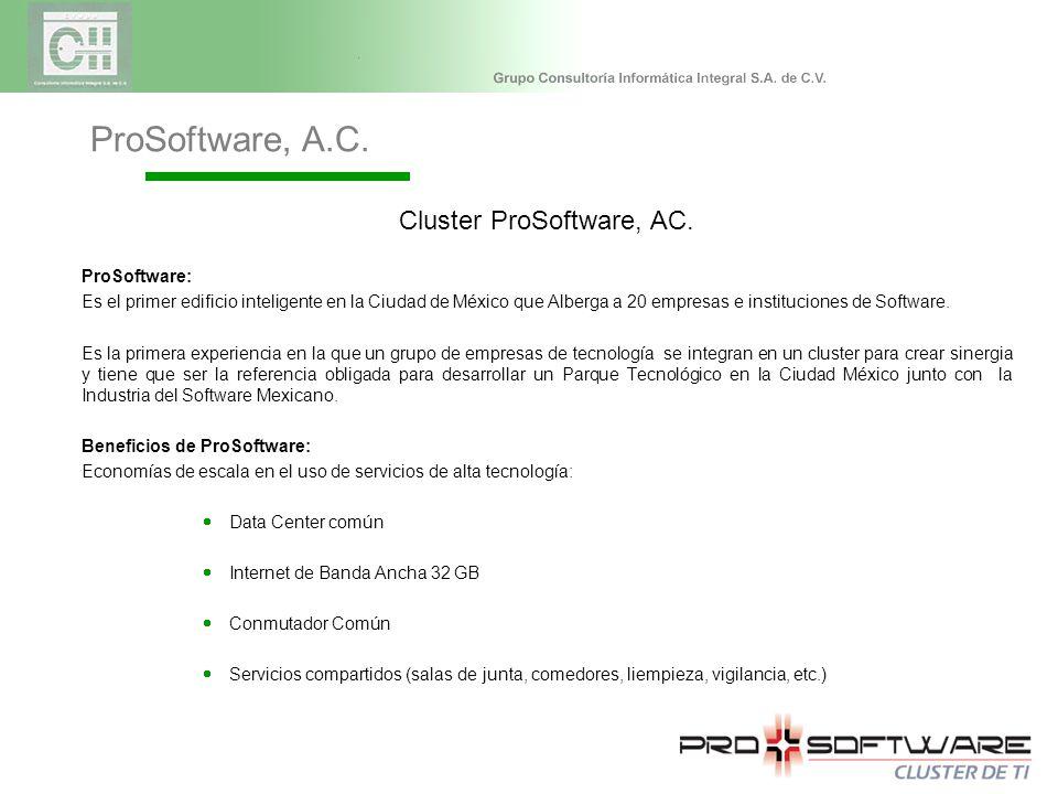 Cluster ProSoftware, AC. ProSoftware: Es el primer edificio inteligente en la Ciudad de México que Alberga a 20 empresas e instituciones de Software.