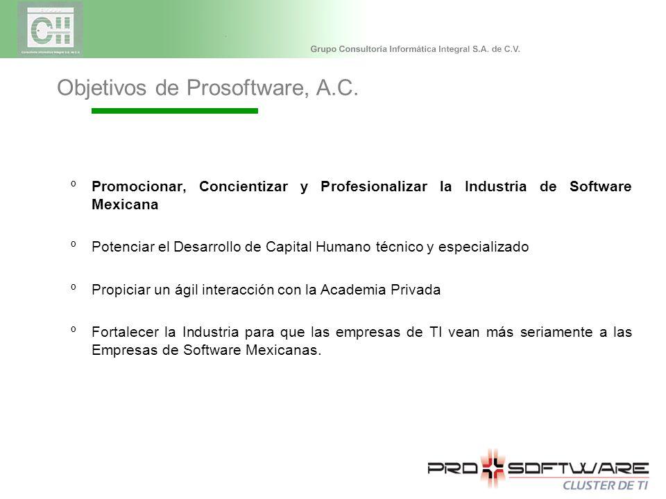 ºPromocionar, Concientizar y Profesionalizar la Industria de Software Mexicana ºPotenciar el Desarrollo de Capital Humano técnico y especializado ºPropiciar un ágil interacción con la Academia Privada ºFortalecer la Industria para que las empresas de TI vean más seriamente a las Empresas de Software Mexicanas.
