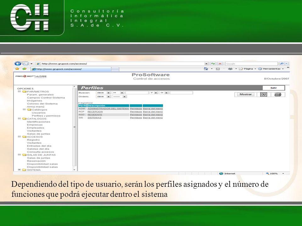 Catálogos del Sistema El sistema de accesos, nos permitirá generar catálogos con información necesario para el uso de la aplicación, sin la necesidad de acumular información innecesaria o repetitiva en la base de datos del sistema.