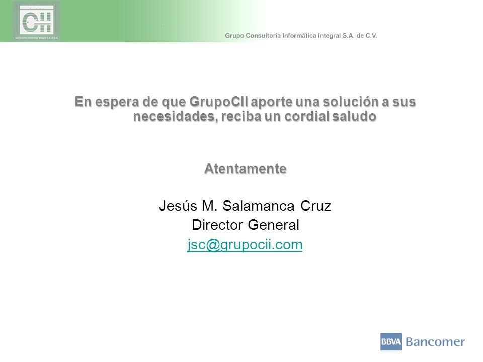 En espera de que GrupoCII aporte una solución a sus necesidades, reciba un cordial saludo Atentamente Jesús M. Salamanca Cruz Director General jsc@gru