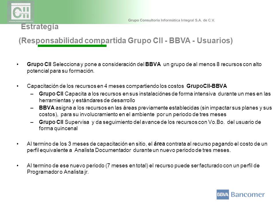 Estrategía (Responsabilidad compartida Grupo CII - BBVA - Usuarios) Grupo CII Selecciona y pone a consideración del BBVA un grupo de al menos 8 recursos con alto potencial para su formación.