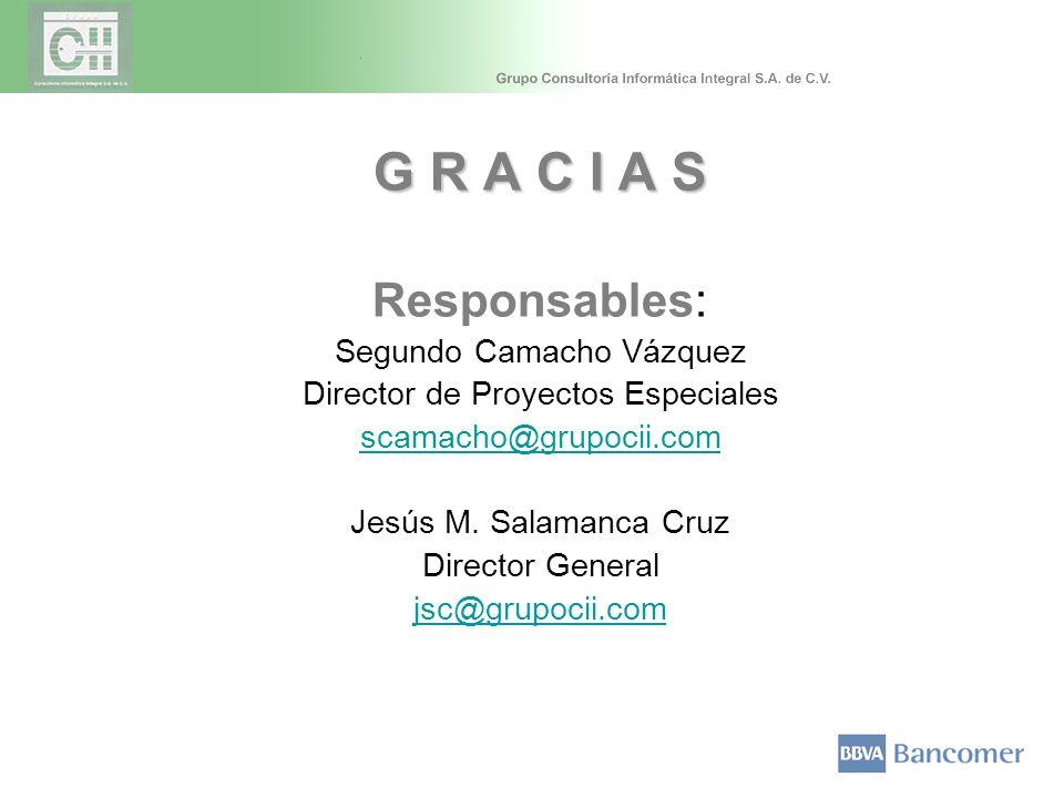 G R A C I A S Responsables: Segundo Camacho Vázquez Director de Proyectos Especiales scamacho@grupocii.com Jesús M. Salamanca Cruz Director General js