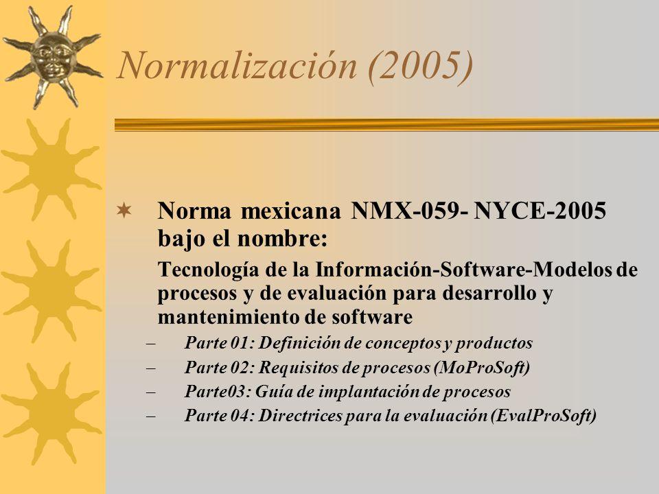Normalización (2005) Norma mexicana NMX-059- NYCE-2005 bajo el nombre: Tecnología de la Información-Software-Modelos de procesos y de evaluación para
