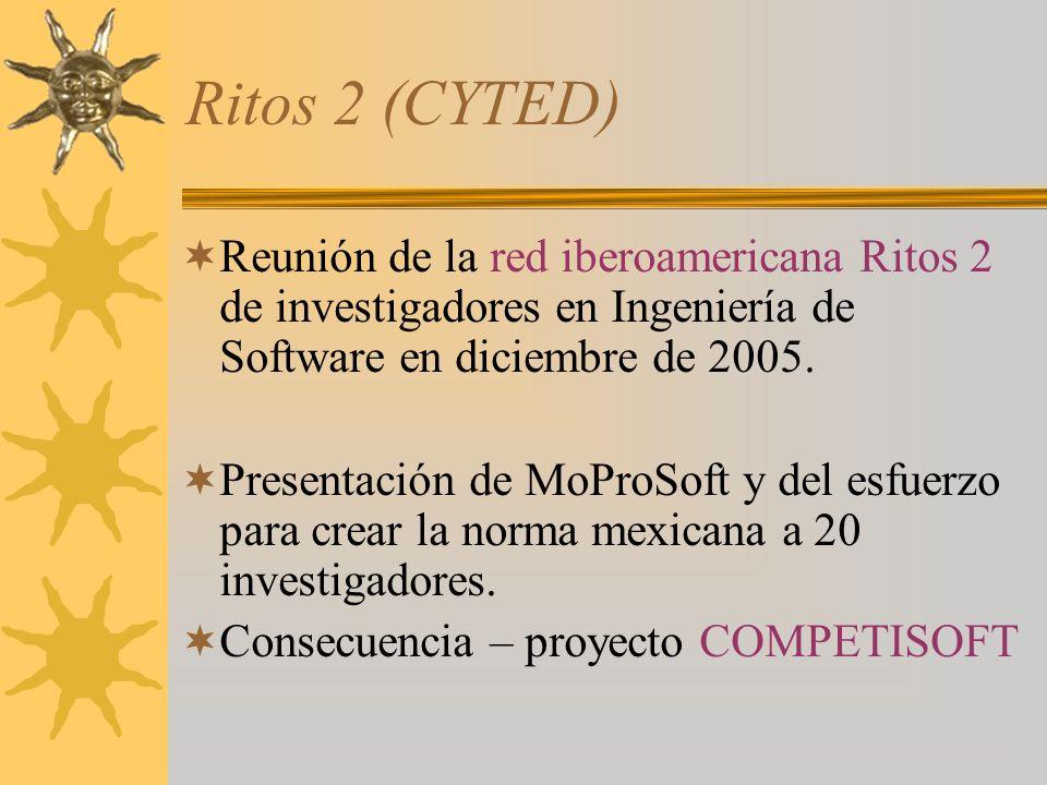 Ritos 2 (CYTED) Reunión de la red iberoamericana Ritos 2 de investigadores en Ingeniería de Software en diciembre de 2005. Presentación de MoProSoft y
