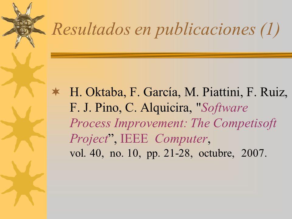 Resultados en publicaciones (1) H. Oktaba, F. García, M. Piattini, F. Ruiz, F. J. Pino, C. Alquicira,