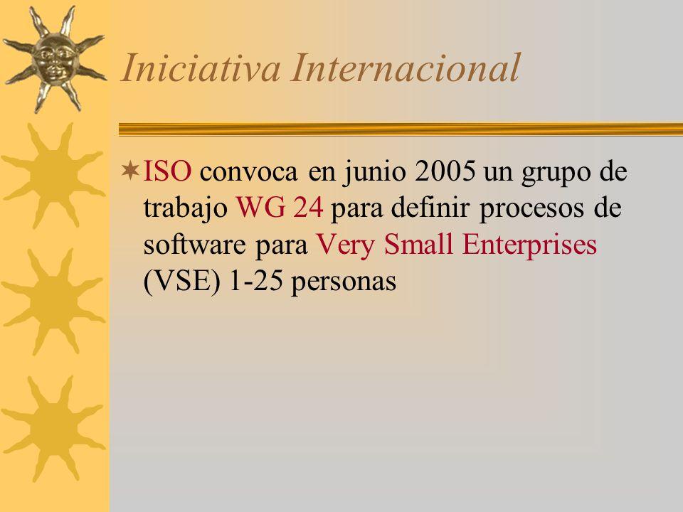 Iniciativa Internacional ISO convoca en junio 2005 un grupo de trabajo WG 24 para definir procesos de software para Very Small Enterprises (VSE) 1-25