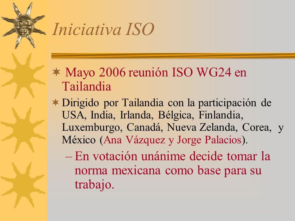Iniciativa ISO Mayo 2006 reunión ISO WG24 en Tailandia Dirigido por Tailandia con la participación de USA, India, Irlanda, Bélgica, Finlandia, Luxemburgo, Canadá, Nueva Zelanda, Corea, y México (Ana Vázquez y Jorge Palacios).