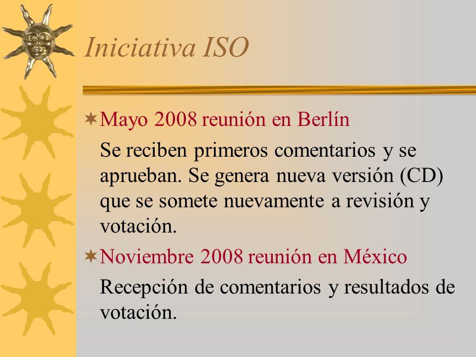 Iniciativa ISO Mayo 2008 reunión en Berlín Se reciben primeros comentarios y se aprueban. Se genera nueva versión (CD) que se somete nuevamente a revi