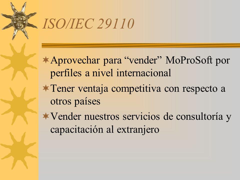 ISO/IEC 29110 Aprovechar para vender MoProSoft por perfiles a nivel internacional Tener ventaja competitiva con respecto a otros países Vender nuestro