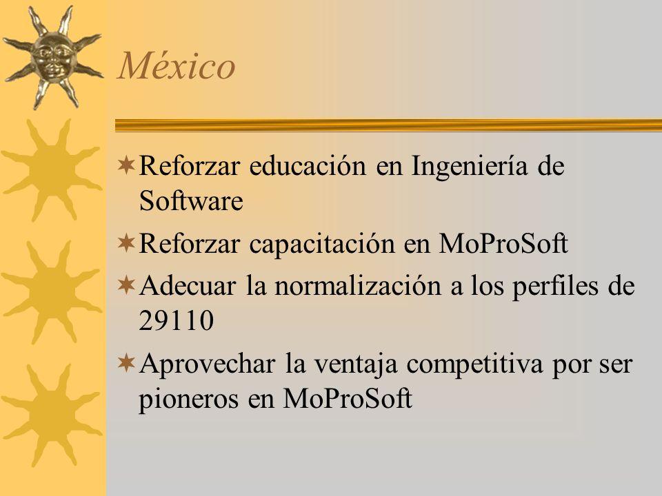 México Reforzar educación en Ingeniería de Software Reforzar capacitación en MoProSoft Adecuar la normalización a los perfiles de 29110 Aprovechar la ventaja competitiva por ser pioneros en MoProSoft